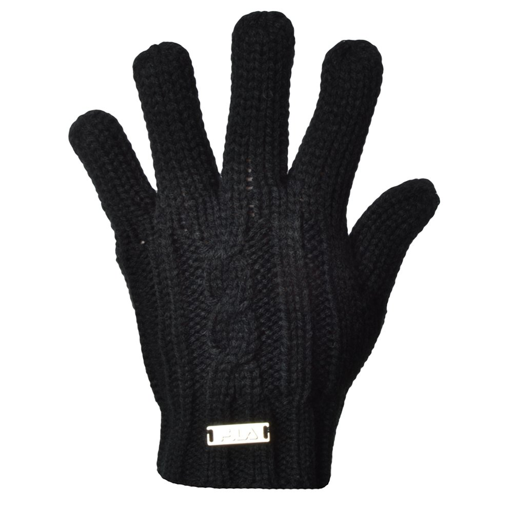 Fila Womens Cable Knit Knitted Winter Warm Acrylic Gloves - Black - Small