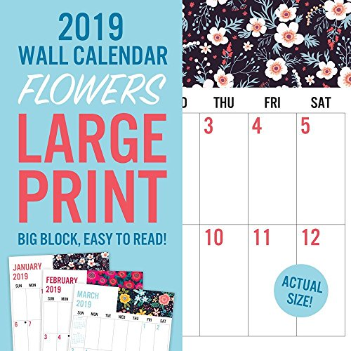 2019 Avalon Wall Calendar, Large Print-Florals, 12 x 12 inches (82399)