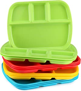 4-Compartment Divided Plastic Kids Tray - Set Of 12 Plastic lunch Trays with dividers for eating Or Baby Feeding - 4 Vibrant Colors (3 of Each Color) BPA Free Microwave Dishwasher Safe