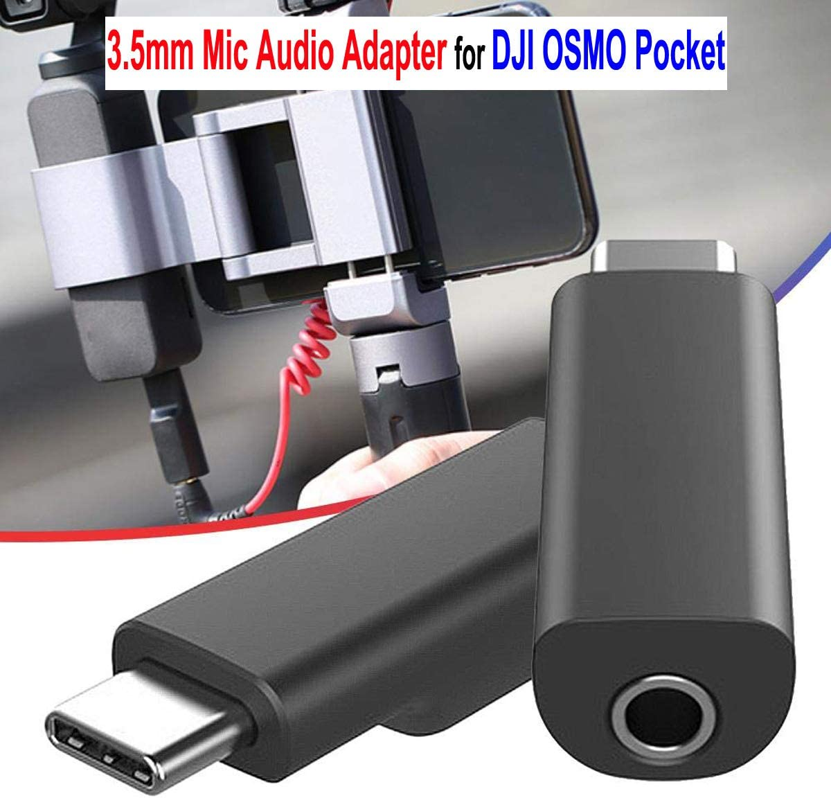for DJI Osmo Pocket Mic Adapter YTGOOD for DJI Osmo Pocket USB-C to 3.5mm Mic Microphone Adapter