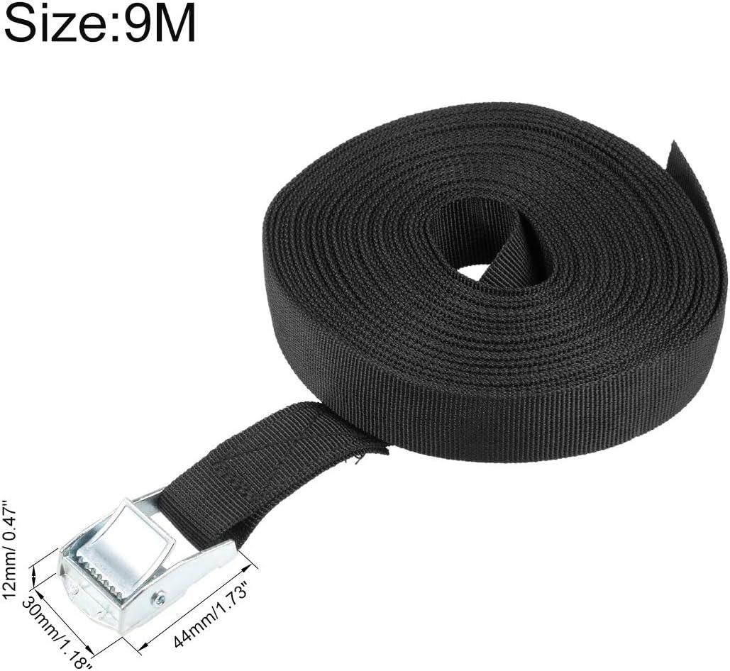 Spanngurt Frachtgurt Festbinden mit Kam Schnalle bis zu 250kg Schwarz 9M x 25mm sourcing map 2stk
