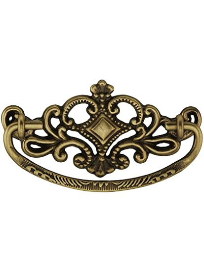victorian style crown brass bail pull 3 center to center in antique