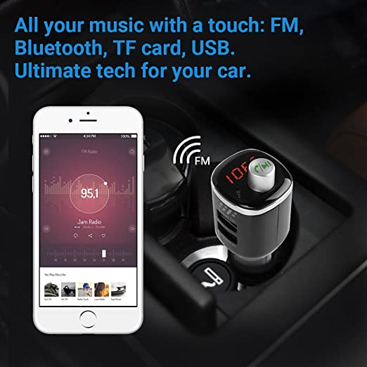 Amazon.com: Bluetooth FM Transmitter, 5V/2.4A Dual USB Car Charger 2 USB Ports, Multi-function Wireless Transmitter Radio, Hands-Free Calling, ...