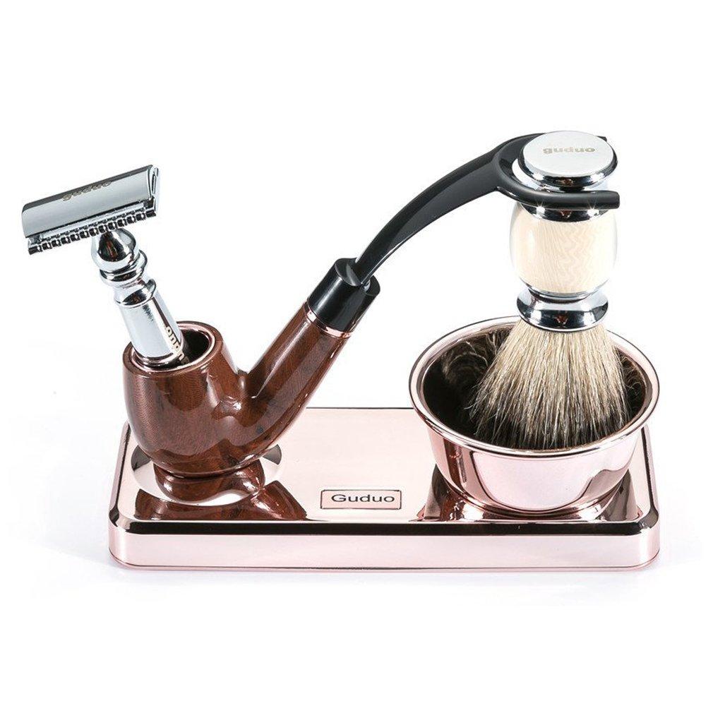 Guduo Shaving Kit Deluxe Chrome Razor and Brush Stand - The Best Design Razor Stand with Razor Brush Blades and Bowl(Rose Gold Kit)