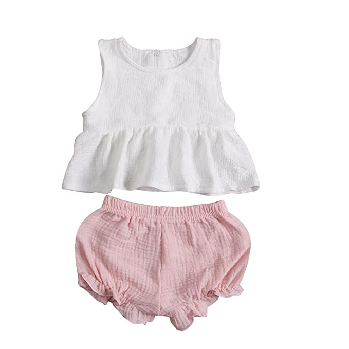 2754b2e09 Amazon.com: 2 PC Baby Girl Clothes Outfits Set Ruffle T-Shirt Vest Tank Top  + Short Pants Bloomer Sunsuit: Clothing