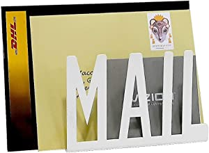 """A10SHOP Ares Metal Desktop Cutout """"Mail"""" Letter Holder and Mail Stand Organiser (15cm x 10cm x 5.5cm, White)"""