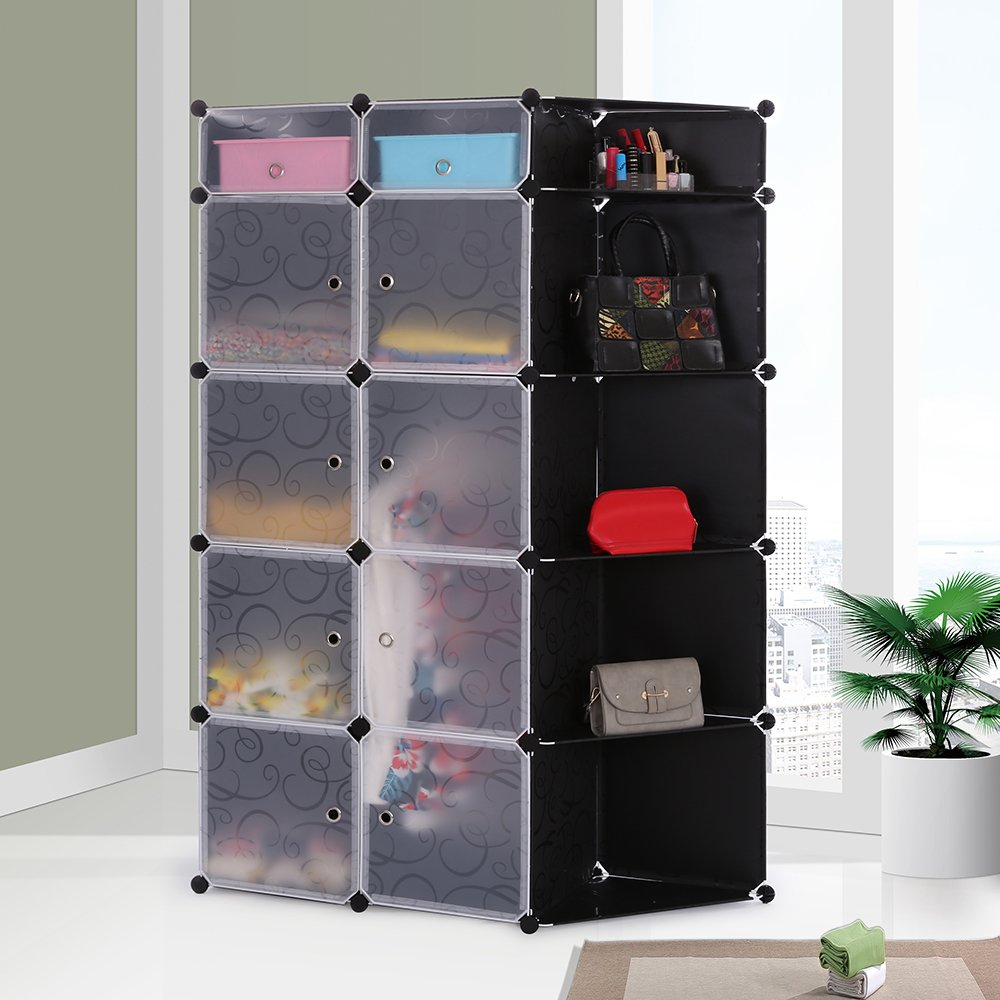 Portable DIY Storage Cabinet,Cubby Shelving Modular 15 Cube Storage Space Saving Wardrobe Closets with Stickers for Bedroom Clothes Shoes Toys (Black) by maxgoods (Image #6)