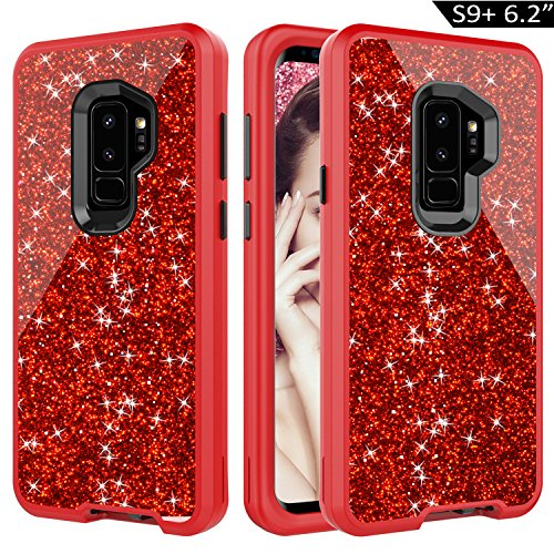 Dailylux Galaxy S9 Plus Case,3-Layer Defender Heavy Duty Shockproof Protective Glitter Cover for Samsung Galaxy S9 Plus Case for Girls Women-Bling Red