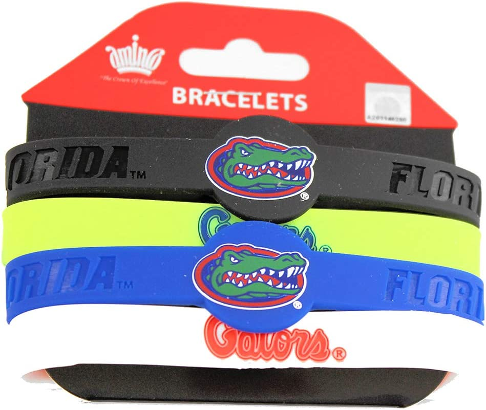 1//2 Wide with 1 Round Team Colors 4-Pack aminco CCP-BC-283-02NCAA Florida Gators Silicone Bracelets