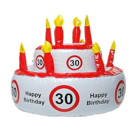 Hinchable tarta de cumpleaños para varios redondo número cumpleaños, 30 (EU)