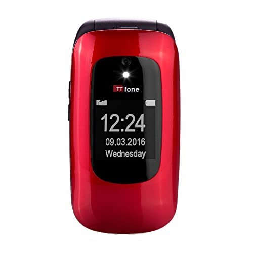 TTfone Lunar TT750 Big Button Simple Easy Clamshell Unlocked Flip Mobile Phone - Red