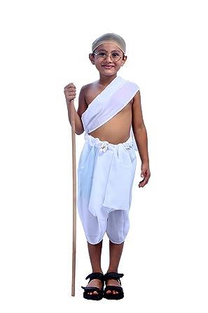 Shree Balaji Dress Big Boys' Mahatma Gandhi Dress Fancy Dress Cosplay  Costume Small White