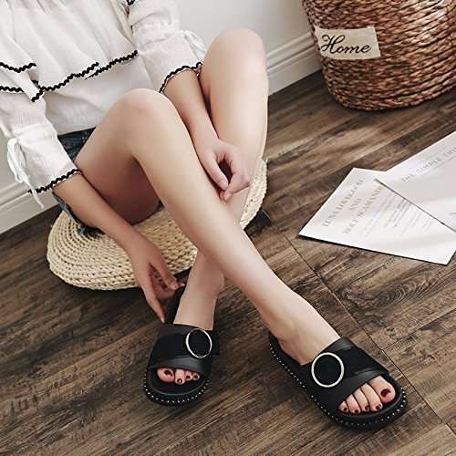 semi shoes wear buttons summer Black beach slippers women's flat fashion cool Slippers bottomed FYx0WBIvpI