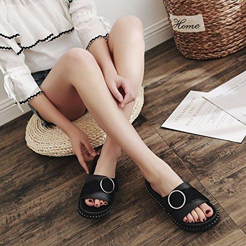moda verano de mujer de Liuxinda negro verano playa XZZ calzado semideslizantes botones Zapatillas fondo para de plano de LIUXINDA zapatillas XZ con xCtqwfAz44