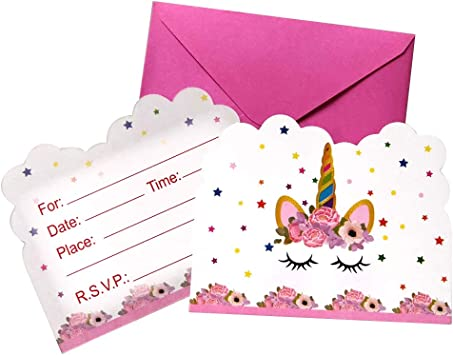 Dxj 12pcs Unicorn Invited Cards Magical Unicorn Party Invitations With Envelopes For Kids Birthday Baby Shower Party Supplies 12 Pieces Of Fill In