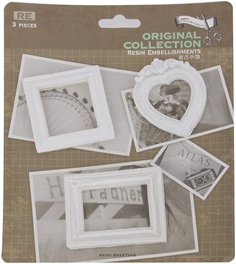 Prima Antique White Resin Frame Embellishments Scrapbooking Diy Craft 3//pkg