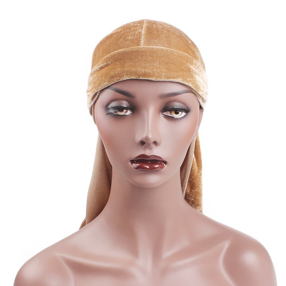 ACTLATI 2pcs Velvet Durag for Men Women Headwraps Chemo Turban Hats