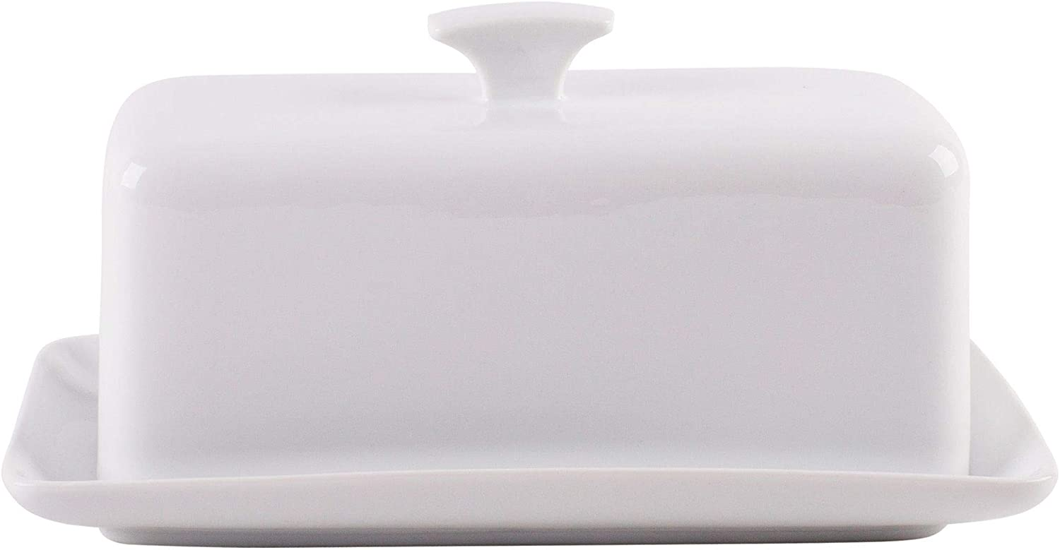 Traditional Butter Dish with Handled Lid (2 pc.) Rectangular Kitchen Accessory Dishwasher and Microwave Safe (Fiddle Fern Stoneware)