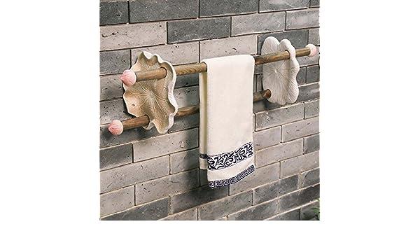 Daadi Adornos Art decó clásico Chino Creative Toallas baño baño Doble Barra de Madera, Ropa de Blanco: Amazon.es: Hogar