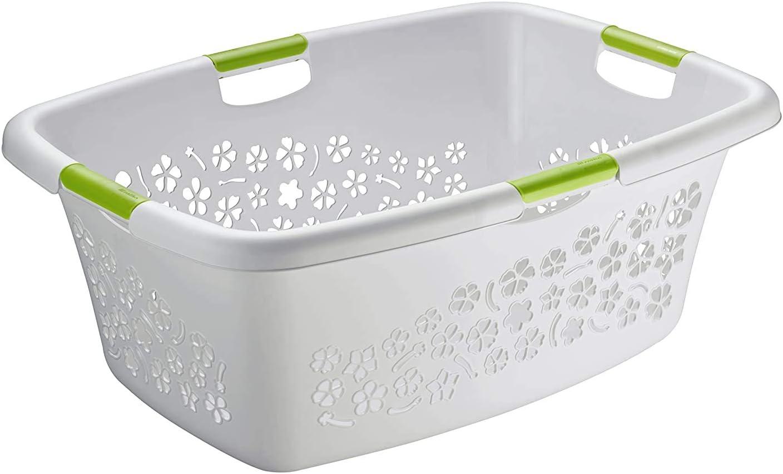 Rotho Flowers, Cesta de lavandería 50l con 4 asas, Plástico PP sin BPA, gris, verde, 50l 65.1 x 48.6 x 26.2 cm
