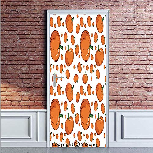 Harvest Door Wall Mural Wallpaper Stickers,Halloween Inspired Pattern Vivid Cartoon Style Plump Pumpkins Vegetable Decorative,Vinyl Removable 3D Decals 35.4x78.7/2 Pieces set,for Home Decor Orange Gre