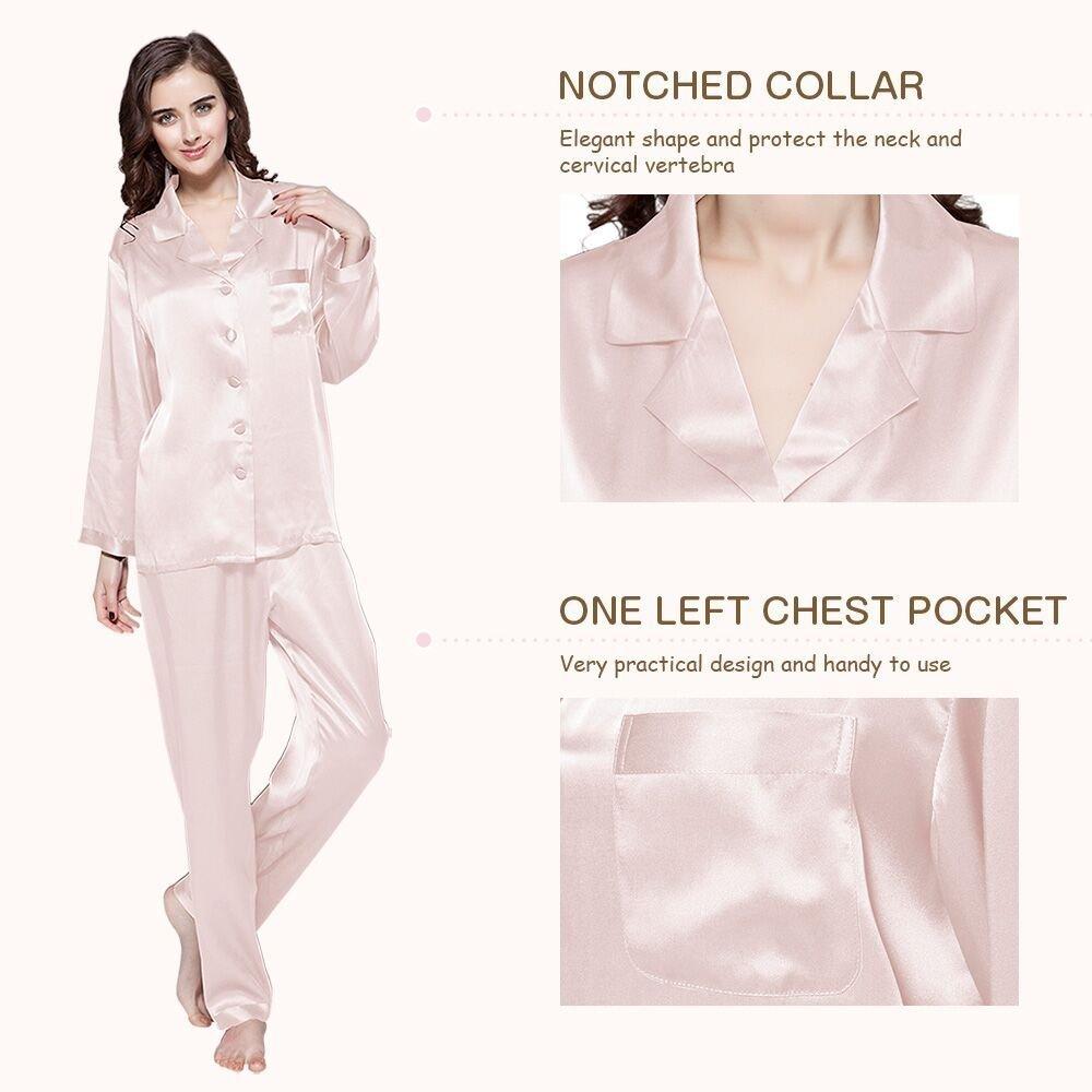 feea6fa35a LILYSILK Women s 100 Silk Pyjama Set Long Pajamas Ladies 2Pcs 22 Momme Pure  Mulberry Silk Charmeuse  Amazon.co.uk  Clothing