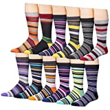 Beged Cotton Crew Funky Dress Socks for Men (12-Pack) – Fun Colorful Patterns - 3200