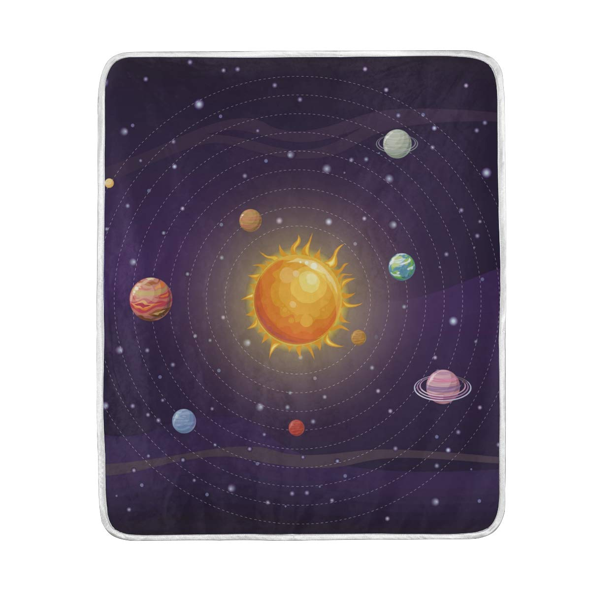 WIHVE Throw Blanket Space Solar System Lightweight Warm Cozy Microfiber Blankets Travelling Camping 50 x 60 Inch, All Season for Couch or Bed