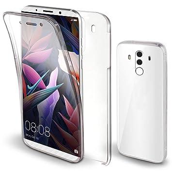 Moozy Funda 360 Grados para Huawei Mate 10 Pro Transparente -Full Body Case Carcasa Cuerpo Completo - Parte Delantera de Silicona, Trasera de PC Duro