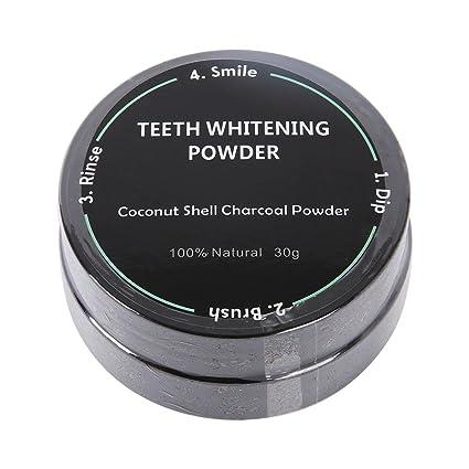 yiitay Blanqueamiento activo carbono orgánico polvo + Cepillo de dientes no químicos aditivo Fresh Breath