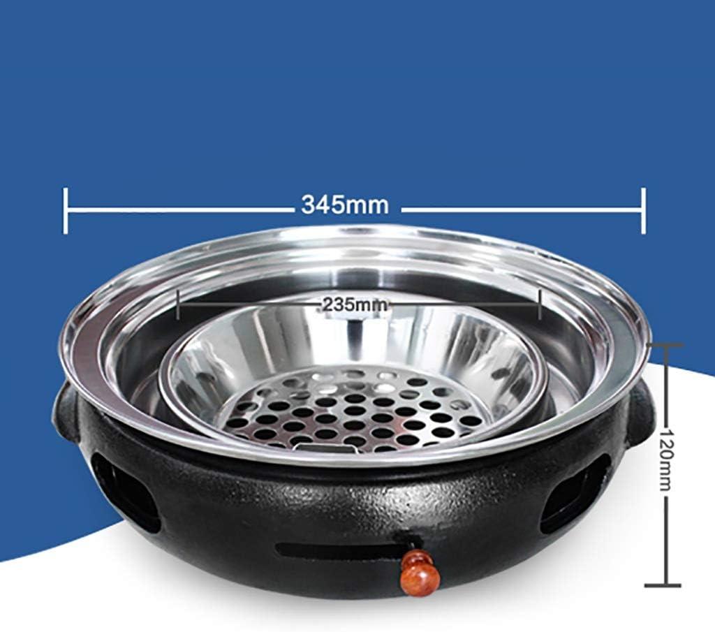 Guoguocy Grills électriques Barbecue, BBQ, Rond et Plat Mesh, coréen sans fumée Ménage Barbecue au Charbon, Barbecue intérieur et extérieur Grill, 34.5cm (Color : G) G