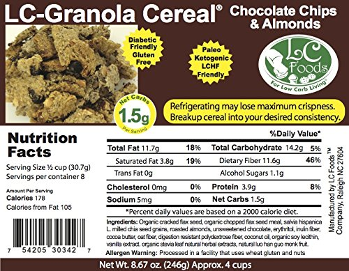 Low Carb Chocolate Chip Almond Granola Cereal - Fresh Baked - LC Foods - All Natural - Gluten Free - No Sugar - High Protein - Diabetic Friendly - Low Carb Granola - 8.67 oz