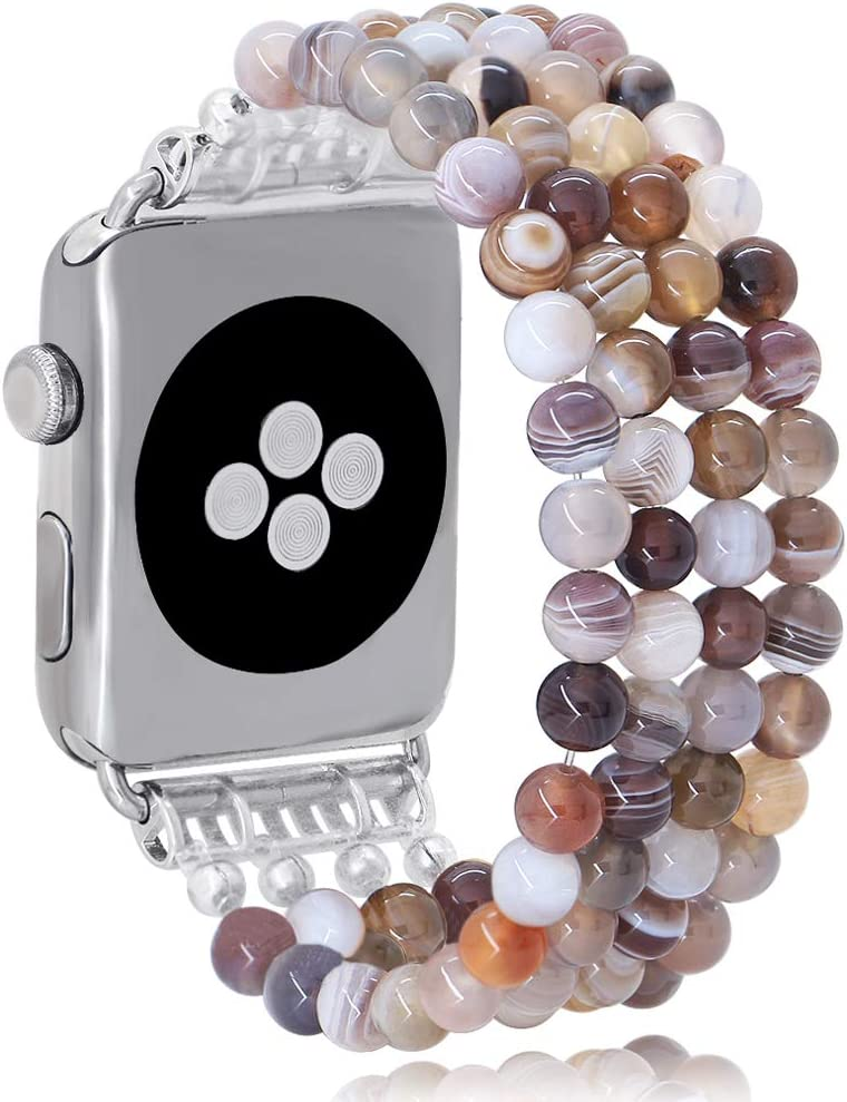 KAI Top Fashion Watch Band Compatible with Apple Watch 38mm 40mm 42mm 44mm for Women Girls,Natural Botswana Agate Beaded Elastic Band Replacement Stretch Strap Compatible for iWatch Series 5 4 3 2 1