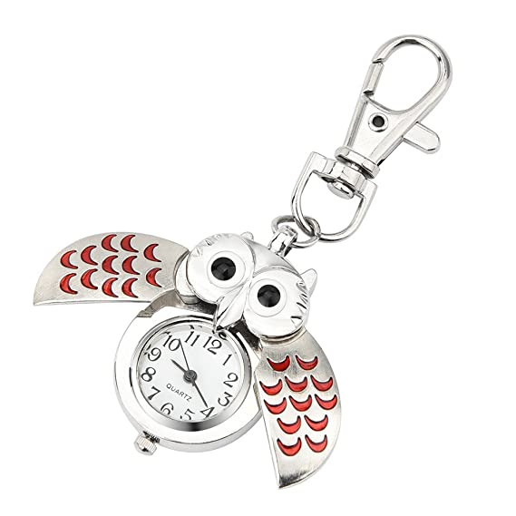 POJIETT Relojes Niña Mujer Owl, Reloj de Bolsillo de Plata Mujer Steampunk Accesorios, Reloj