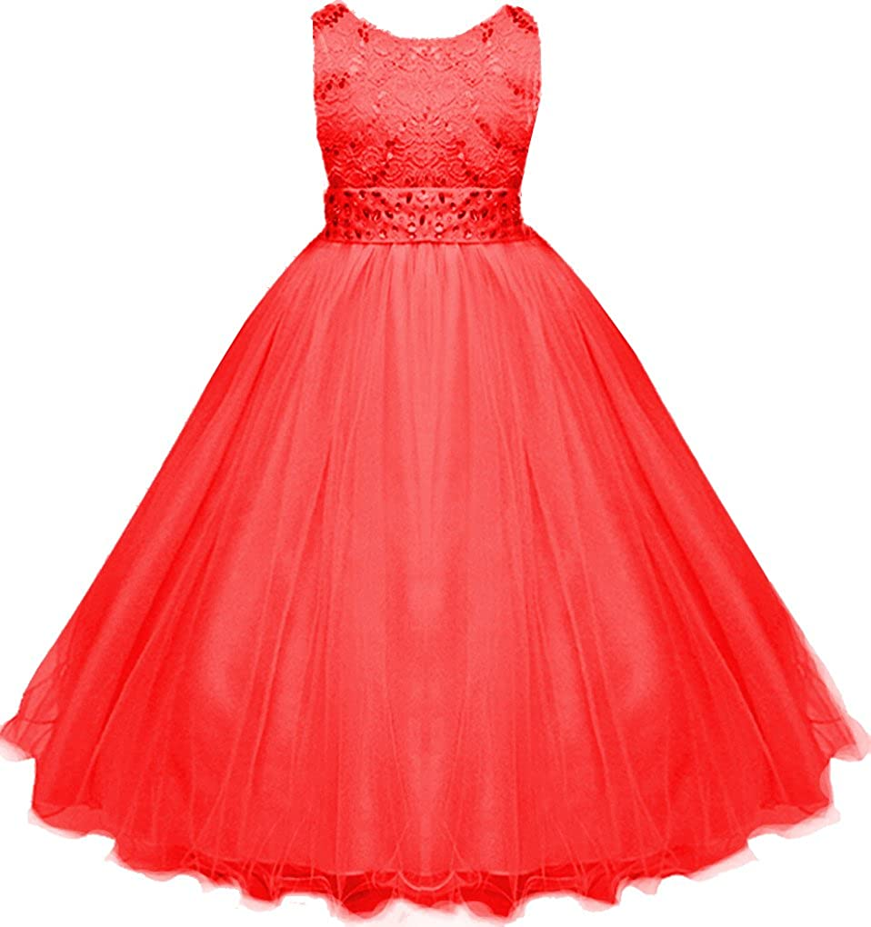 Little/Big Girls Sequins Laces with Glitters Christing Wedding Flower Long Dress
