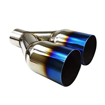 "2.5/"" 3.5/"" Polished Stainless Steel Blue Burnt Straight Cut Duo Layer Exhaust Tip"