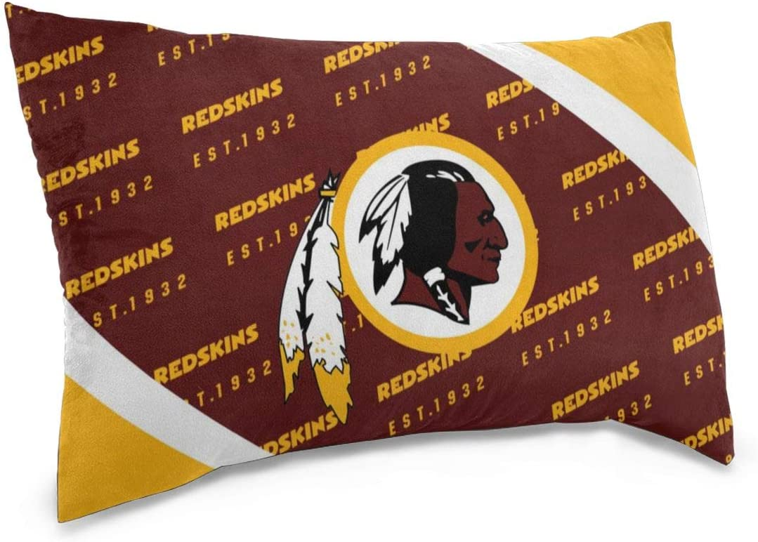 LOMELIN Design Colorful 1 Pc Rectangle Pillowcase Washington Redskins Football Team Sofa Cushion Cover Soft Pillow Cover Invisible Zipper Pillow Case Protector for Bed