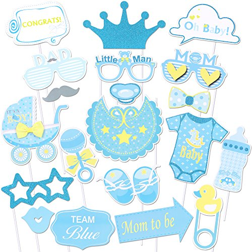 Baby Shower Photo Props(30Pcs), Konsait Glitter Its a Boy Baby Boy Photo Booth Props Kit for Baby Shower Birthday Girl Pink and Gold Gender Reveal Party Favors Supplies Newborn Girl Game Gift