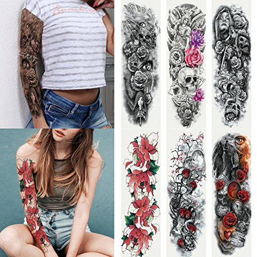 Skull And Roses Tattoo Sleeve (Kotbs 6 Sheets Full Arm Temporary Tattoo, Waterproof Extra Large Temporary Tattoos for Women Men Adults Black Skull Rose Body Art Tattoo Sticker Fake)