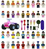 Minifigures Set - 36+13pcs Boys and Girls Mini Community People and Accessories 100% Compatible Building Bricks for Kids Party, to build More Fun