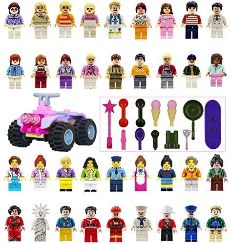 미니 피 규 어 ミニフィグガ?ルズ 36 체 + 13 소품 + 4 륜 2 륜 마차 세트 레고 호환 호환 / Mini Figure Mini Fig Girls 36 body + 13 props + four-wheel buggy set Lego compatible compatible
