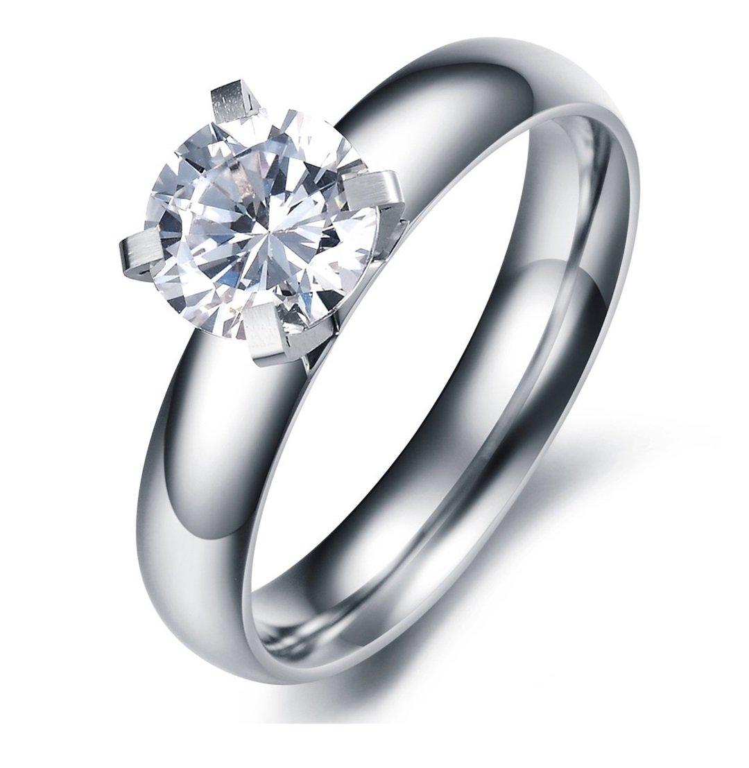 SunnyHouse Jewelry Lady's Gorgeous Simple Korean Stylish Titanium Wedding Band Ring with Cubic Zirconia Stone (9)