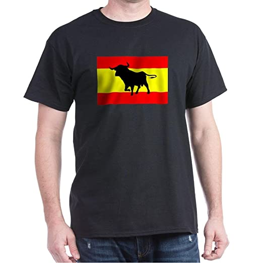 CafePress Camiseta Toro Y Bandera Espana 100% Cotton T-Shirt Black