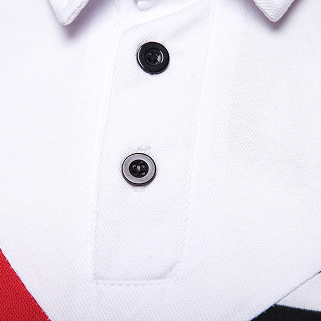 Short Sleeve Turn-Down Collar Button Patchwork Comfortable Blouse Tops Eolgo Fashion Mens Summer T Shirts