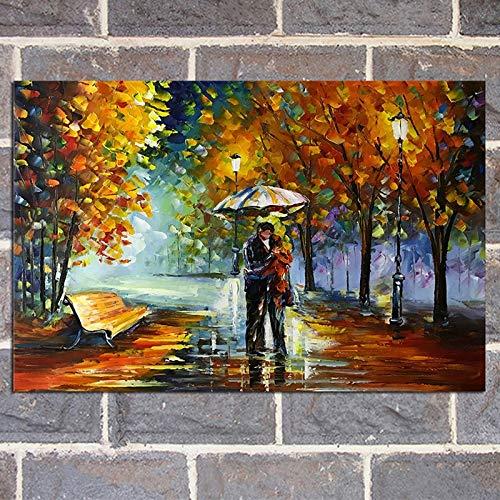 OilYY Peintures à l'huile peintes à la Main Large Home Wall Art Pictures-Peint À La Main Abstrait Arbres Paysage Peinture À l'huile sur Toile Couteau Couples Streetscape Peinture