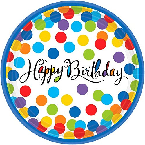 (amscan Round Plates | Multi Color Collection | Birthday)