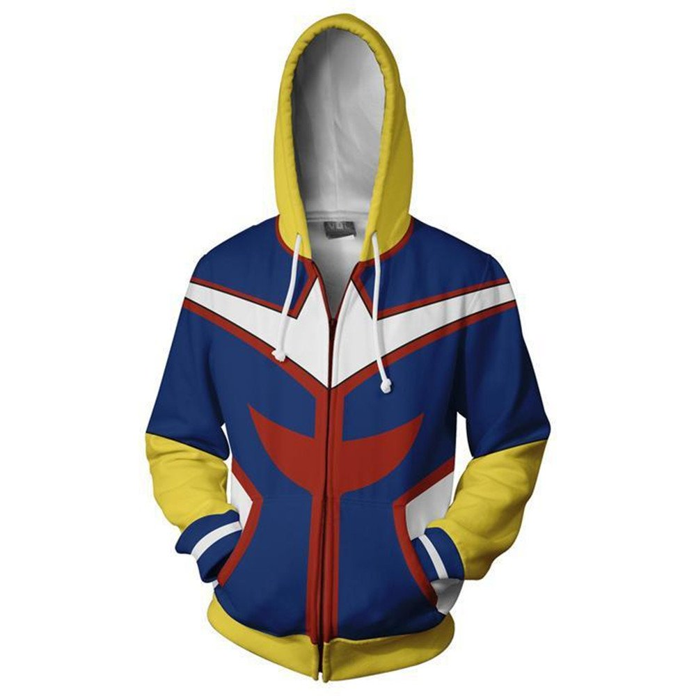 VOSTE My Hero Academia Hoodie 3D Printed Jacket All Might Cosplay Costume (Medium, Color 2)