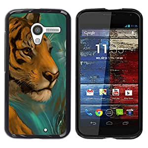 Qstar Arte & diseño plástico duro Fundas Cover Cubre Hard Case Cover para MOTO X / XT1058 / XT1053 / XT1052 / XT1056 / XT1060 / XT1055 ( Tiger Drawing Paintin Watercolor Cat Face)