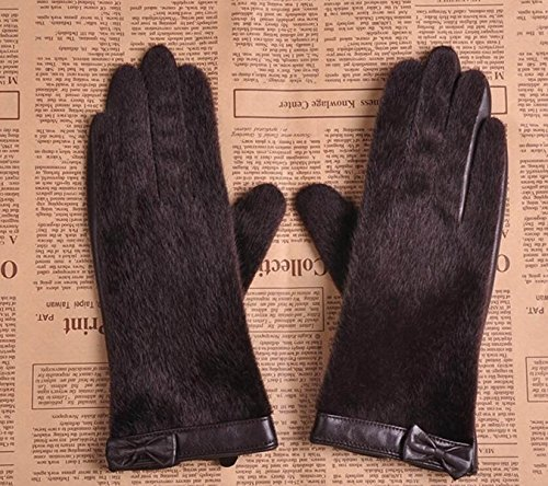 HOMEE Women'S Suede Leather Gloves Winter Warm Cashmere Fashion Bowknot