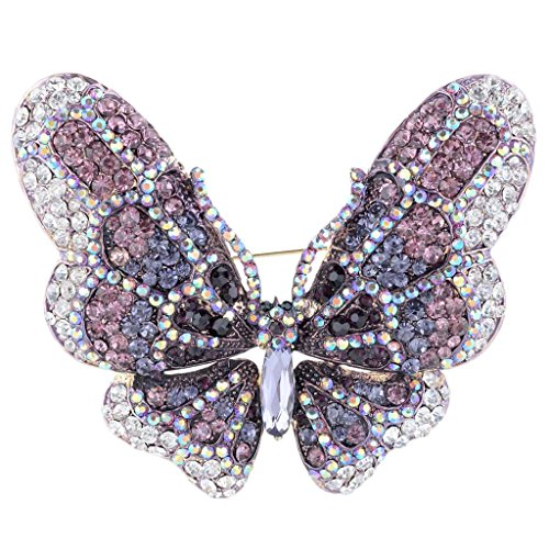 - EVER FAITH Women's Austrian Crystal Butterfly Brooch Purple Gold-Tone